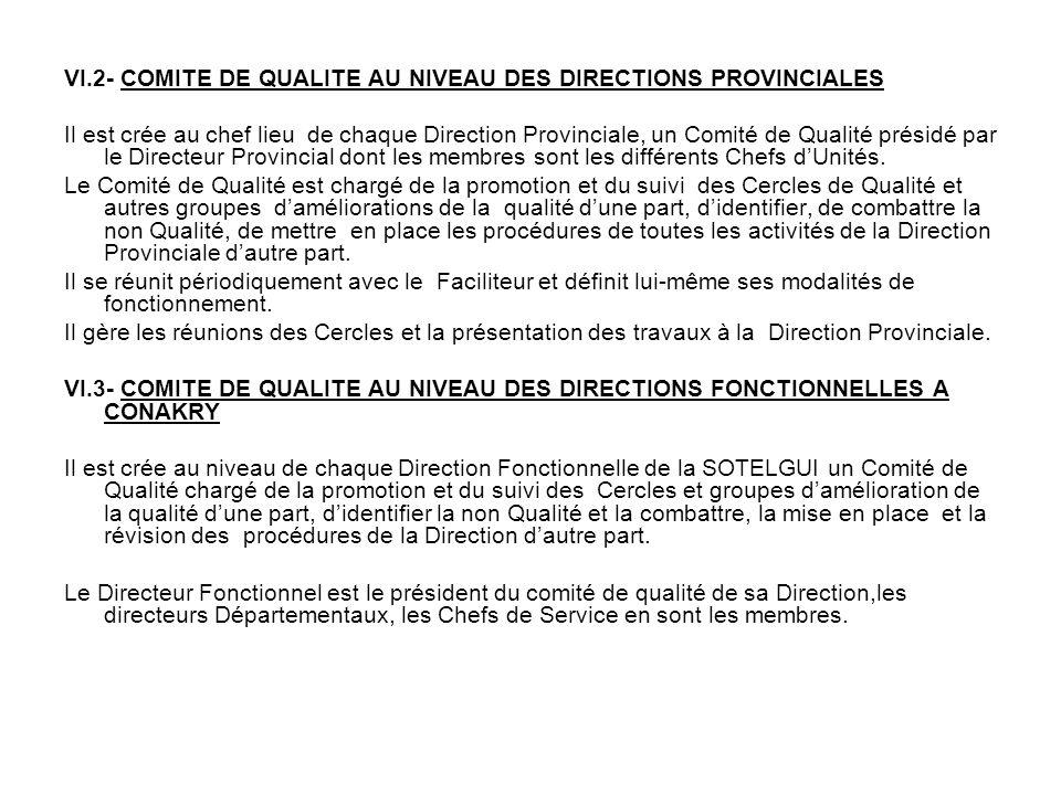 VI.2- COMITE DE QUALITE AU NIVEAU DES DIRECTIONS PROVINCIALES