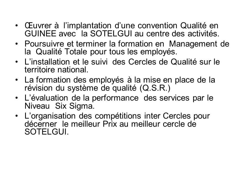 Œuvrer à l'implantation d'une convention Qualité en GUINEE avec la SOTELGUI au centre des activités.
