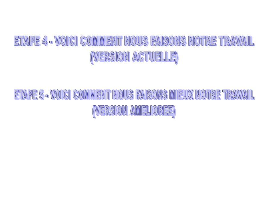 ETAPE 4 - VOICI COMMENT NOUS FAISONS NOTRE TRAVAIL (VERSION ACTUELLE)