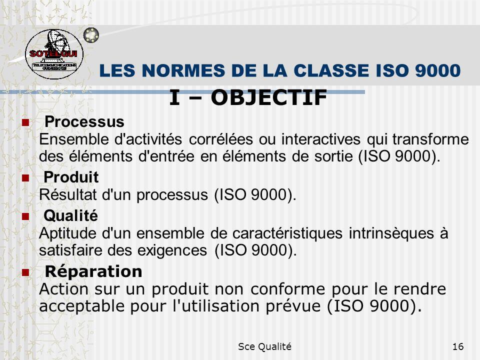LES NORMES DE LA CLASSE ISO 9000