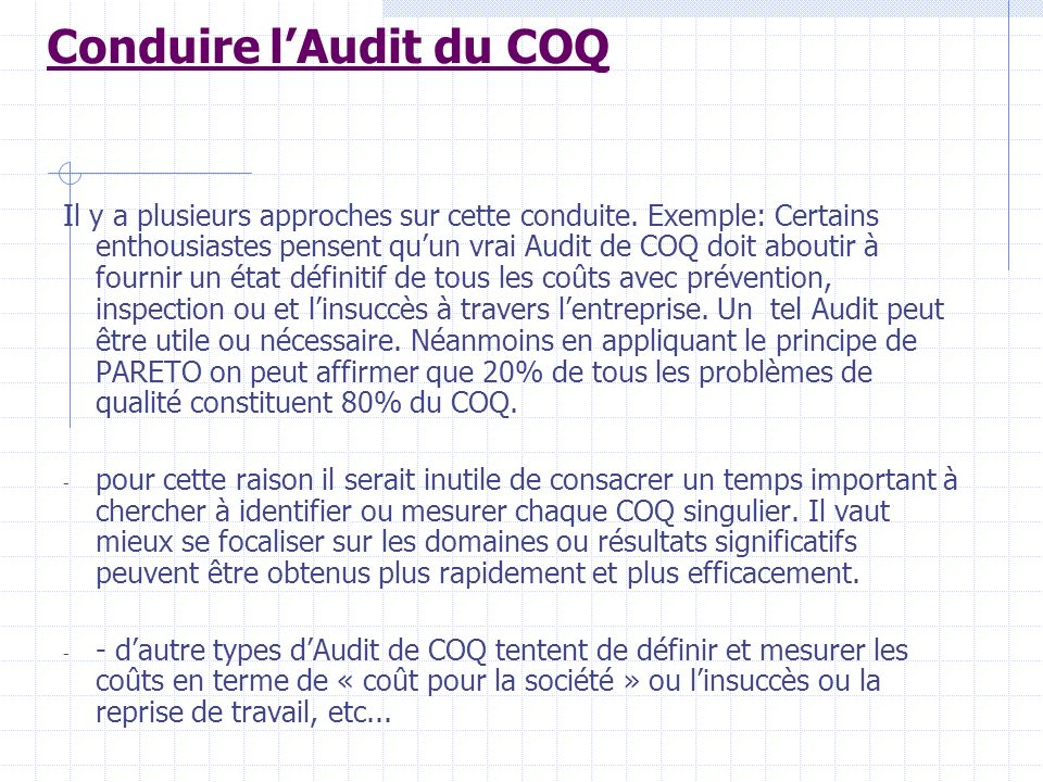Conduire l'Audit du COQ