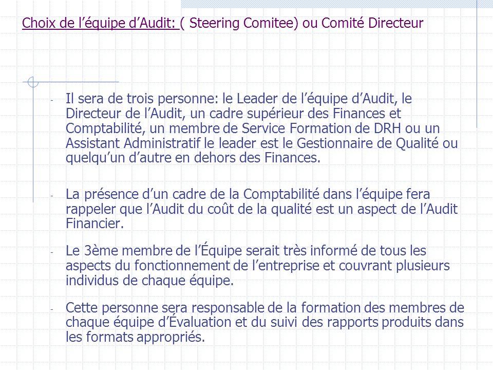Choix de l'équipe d'Audit: ( Steering Comitee) ou Comité Directeur