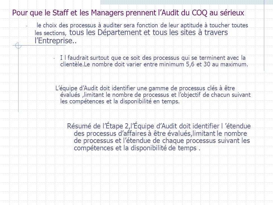 Pour que le Staff et les Managers prennent l'Audit du COQ au sérieux