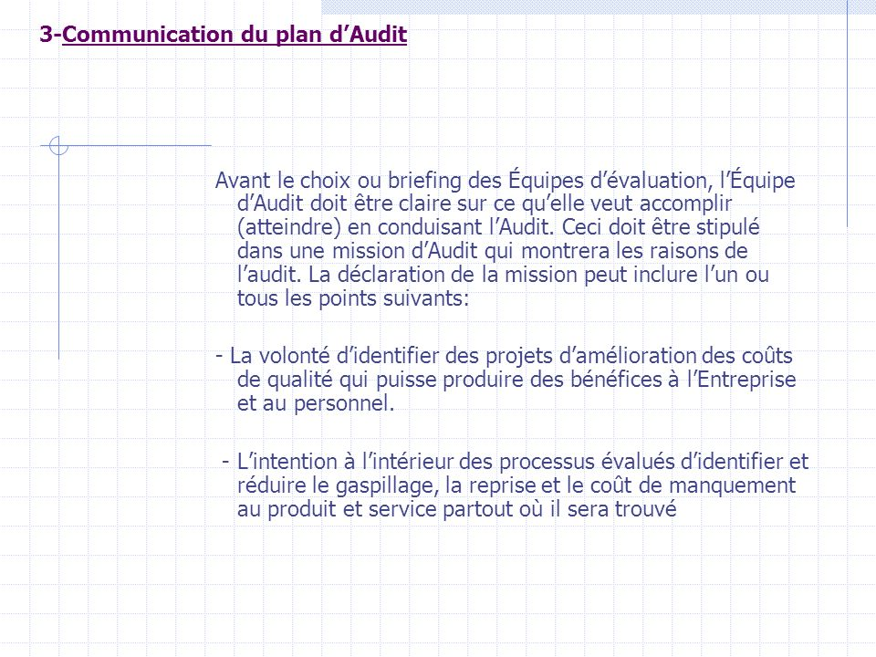 3-Communication du plan d'Audit