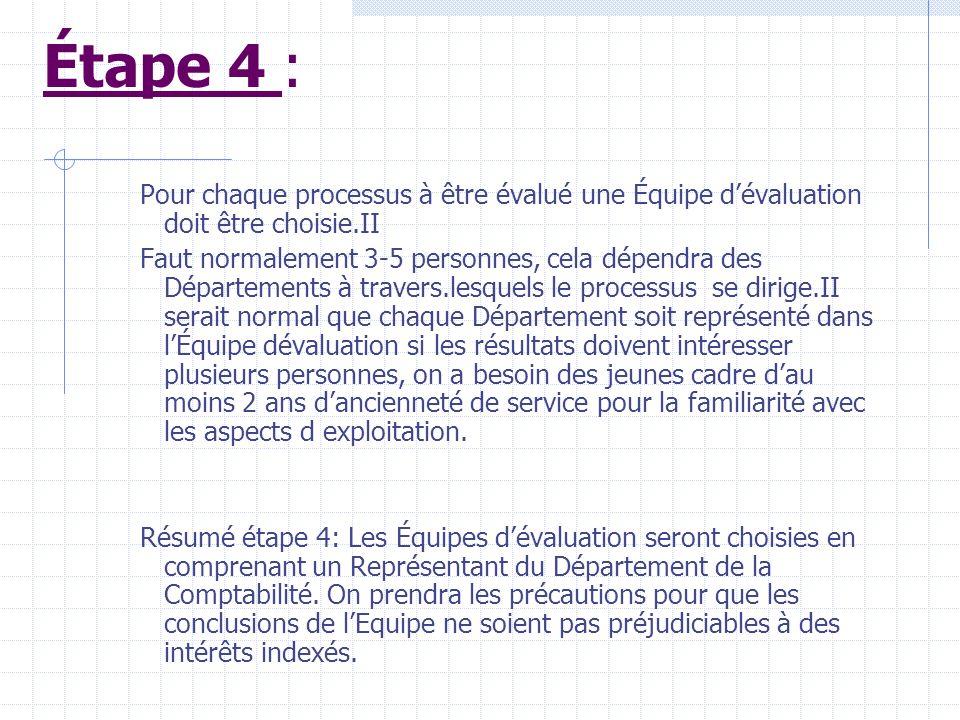 Étape 4 : Pour chaque processus à être évalué une Équipe d'évaluation doit être choisie.II.