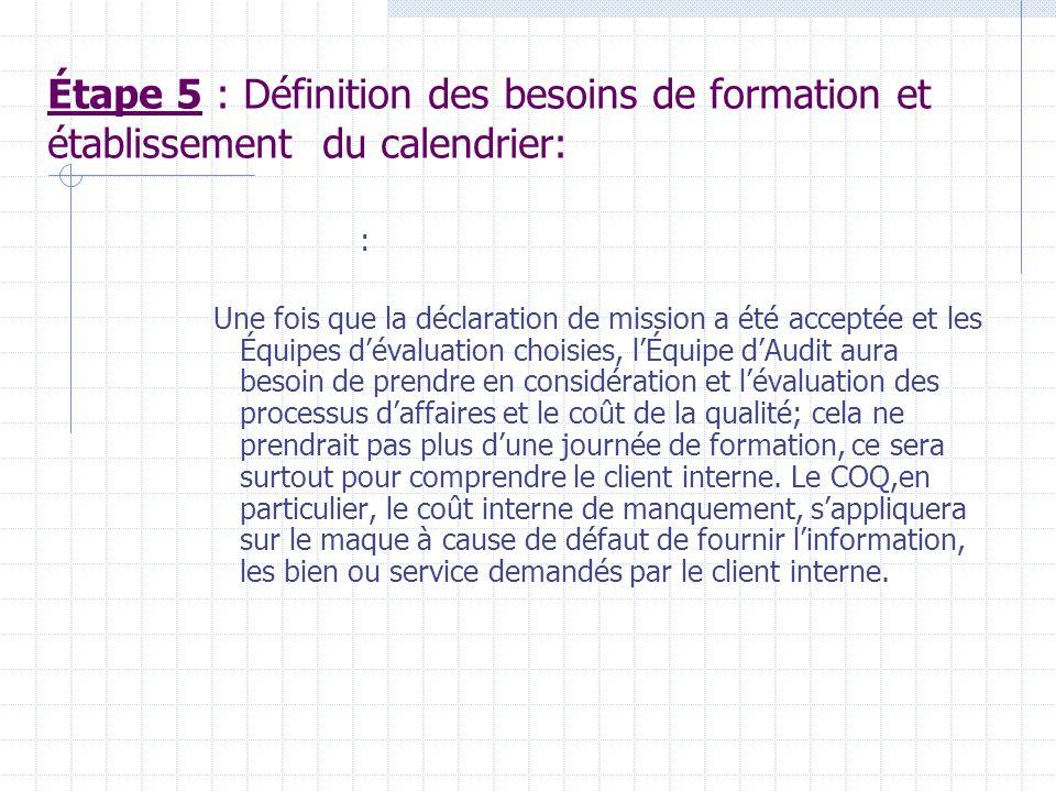 Étape 5 : Définition des besoins de formation et établissement du calendrier: