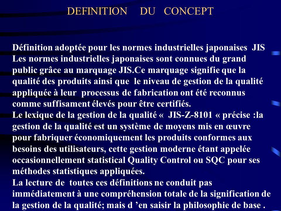 DEFINITION DU CONCEPT Définition adoptée pour les normes industrielles japonaises JIS.