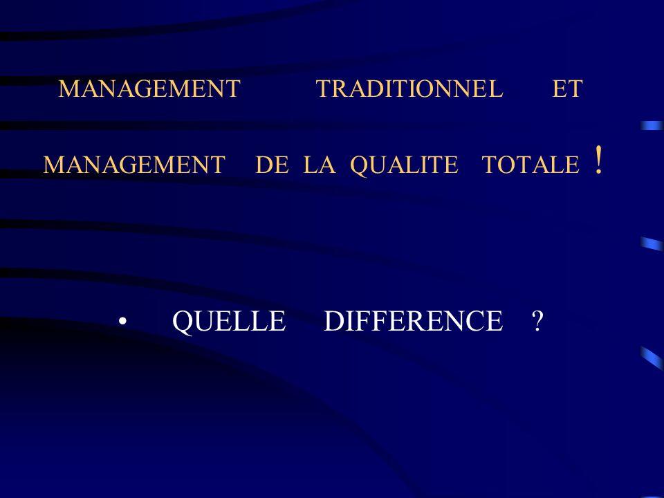 MANAGEMENT TRADITIONNEL ET MANAGEMENT DE LA QUALITE TOTALE !