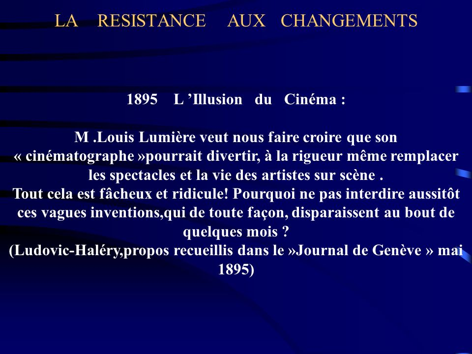 LA RESISTANCE AUX CHANGEMENTS