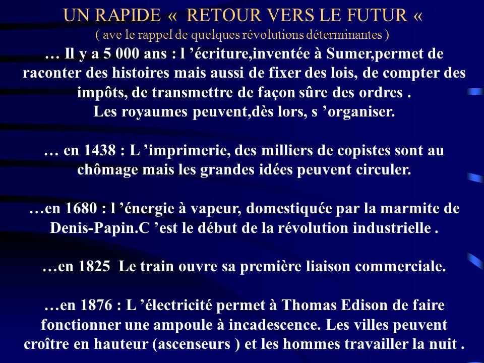 UN RAPIDE « RETOUR VERS LE FUTUR « ( ave le rappel de quelques révolutions déterminantes )