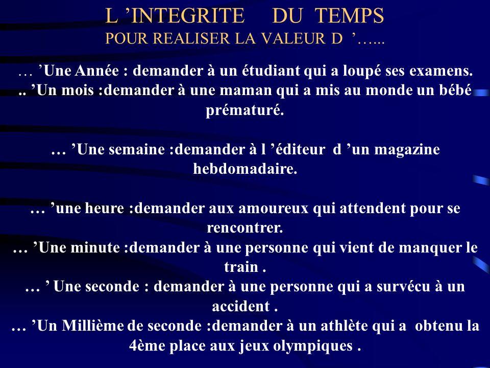 L 'INTEGRITE DU TEMPS POUR REALISER LA VALEUR D '…...