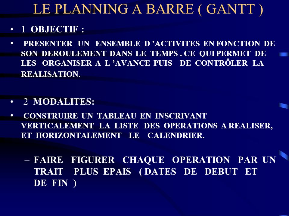 LE PLANNING A BARRE ( GANTT )