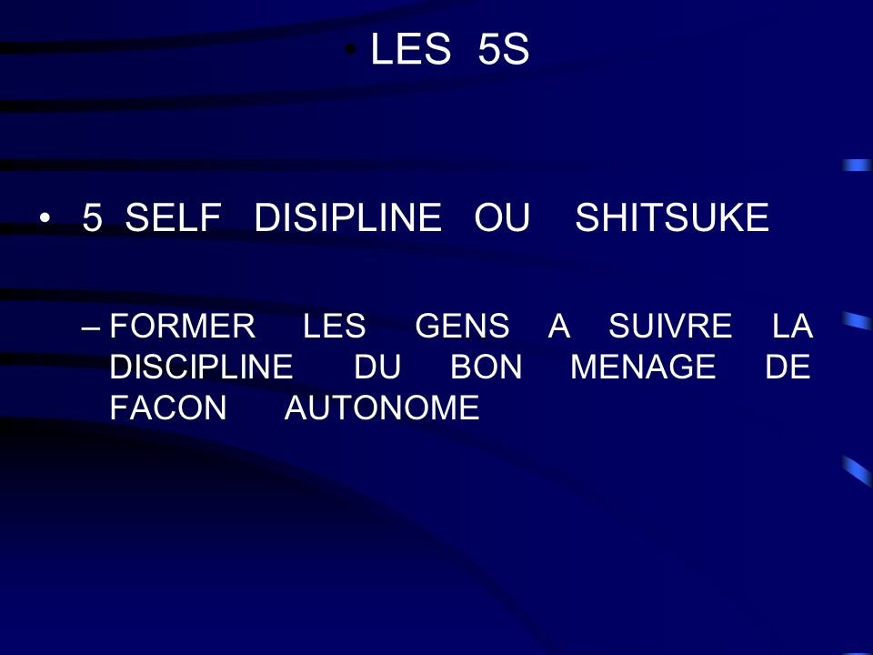 LES 5S 5 SELF DISIPLINE OU SHITSUKE