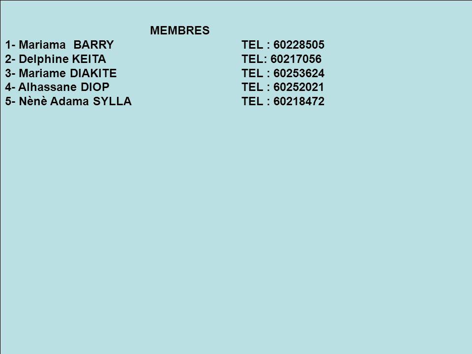 MEMBRES 1- Mariama BARRY TEL : 60228505. 2- Delphine KEITA TEL: 60217056. 3- Mariame DIAKITE TEL : 60253624.