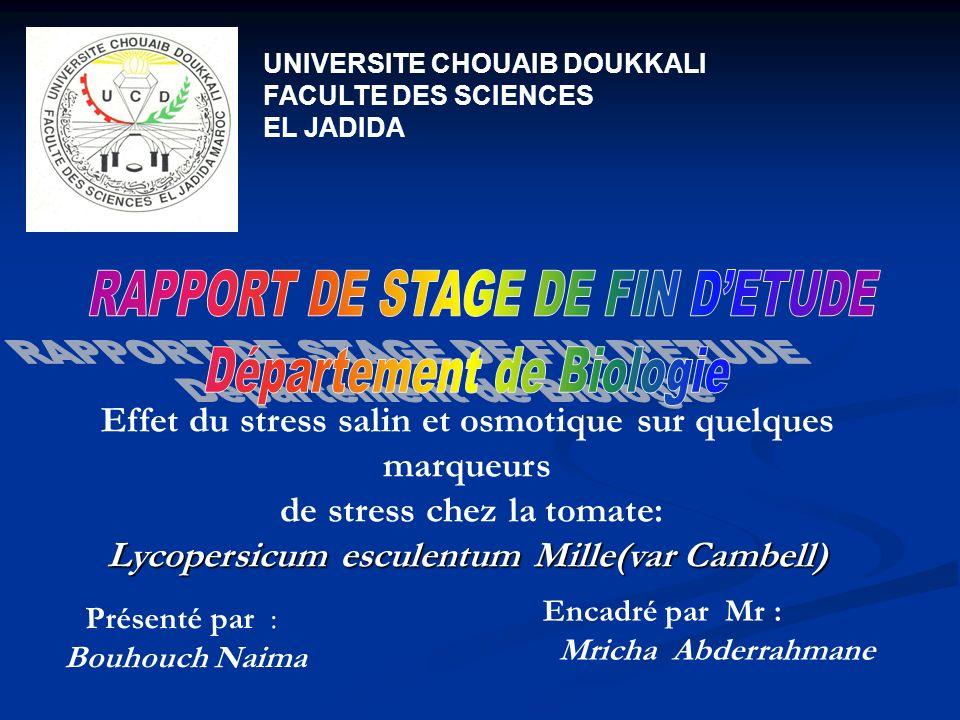 RAPPORT DE STAGE DE FIN D'ETUDE Département de Biologie
