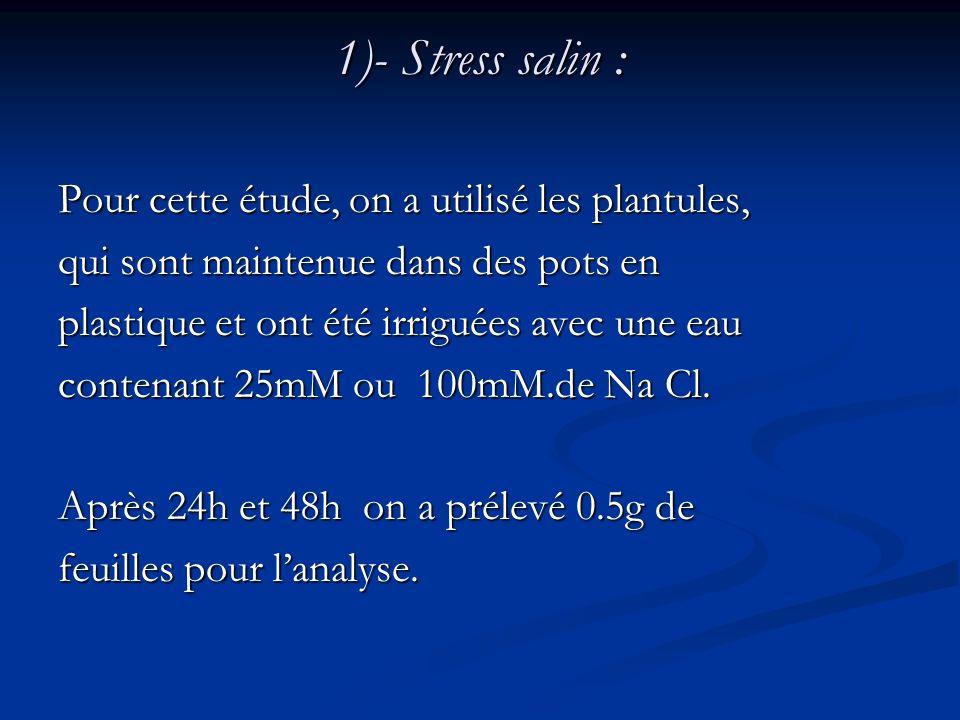 1)- Stress salin : Pour cette étude, on a utilisé les plantules,