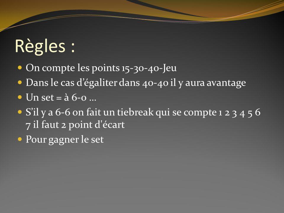 Règles : On compte les points 15-30-40-Jeu