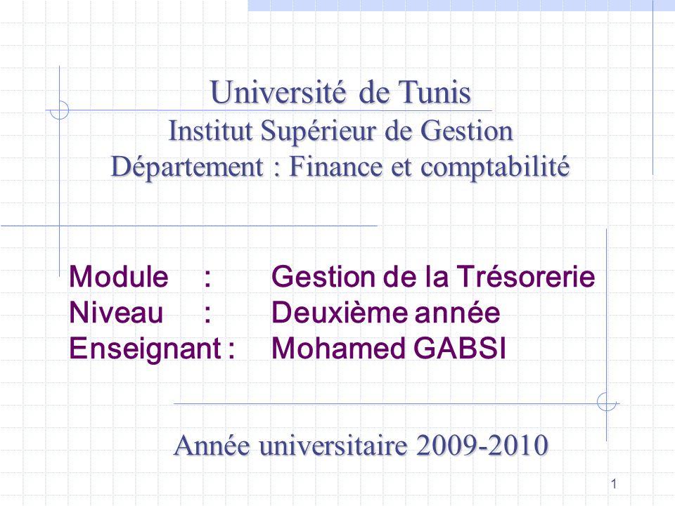 Université de Tunis Institut Supérieur de Gestion