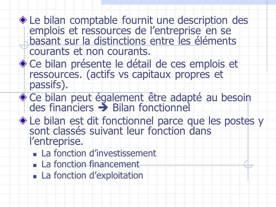 Le bilan comptable fournit une description des emplois et ressources de l'entreprise en se basant sur la distinctions entre les éléments courants et non courants.