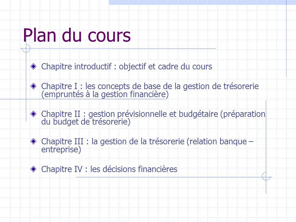 Plan du cours Chapitre introductif : objectif et cadre du cours