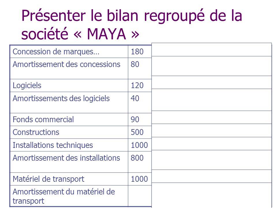 Présenter le bilan regroupé de la société « MAYA »