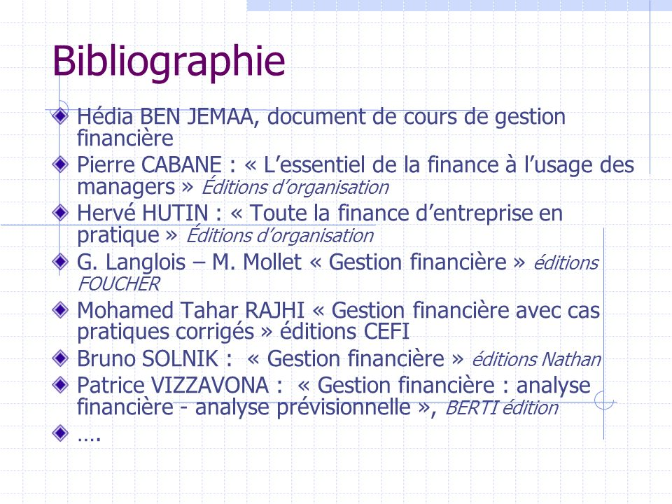 Bibliographie Hédia BEN JEMAA, document de cours de gestion financière