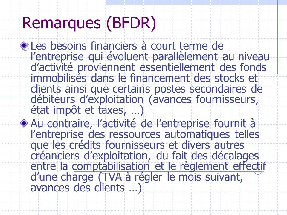 Remarques (BFDR)