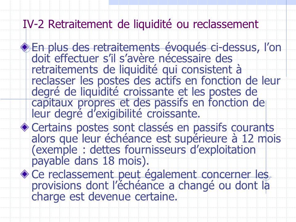 IV-2 Retraitement de liquidité ou reclassement