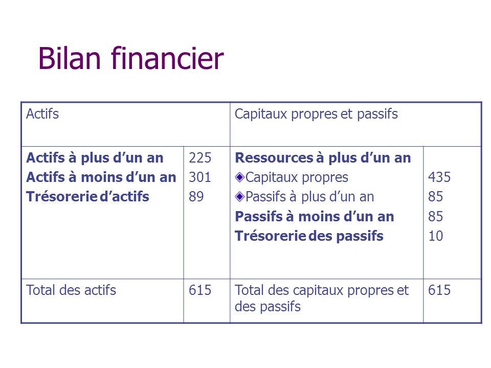 Bilan financier Actifs Capitaux propres et passifs