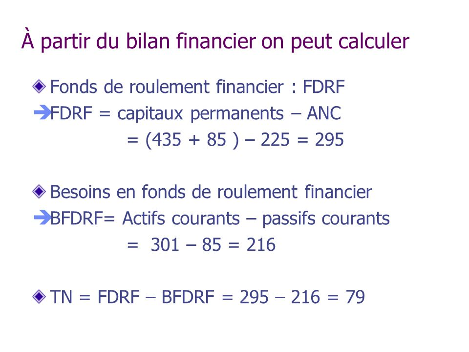 À partir du bilan financier on peut calculer
