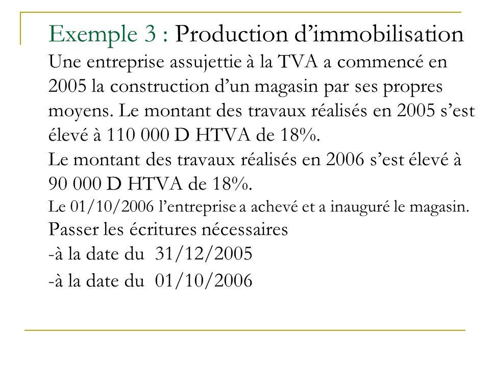 Exemple 3 : Production d'immobilisation Une entreprise assujettie à la TVA a commencé en 2005 la construction d'un magasin par ses propres moyens.