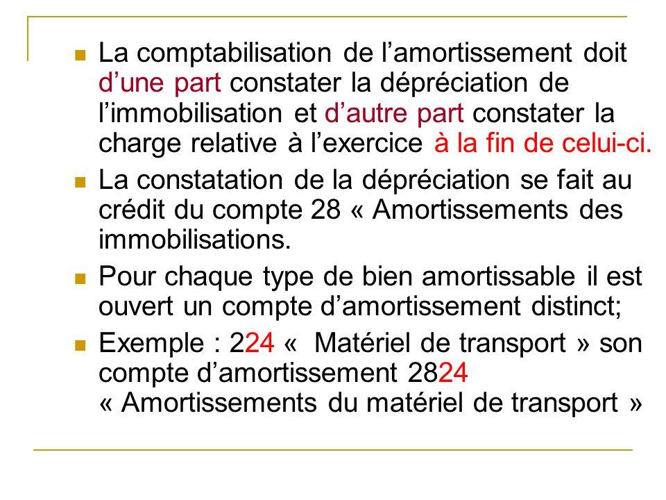 La comptabilisation de l'amortissement doit d'une part constater la dépréciation de l'immobilisation et d'autre part constater la charge relative à l'exercice à la fin de celui-ci.