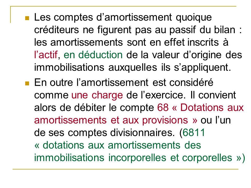 Les comptes d'amortissement quoique créditeurs ne figurent pas au passif du bilan : les amortissements sont en effet inscrits à l'actif, en déduction de la valeur d'origine des immobilisations auxquelles ils s'appliquent.