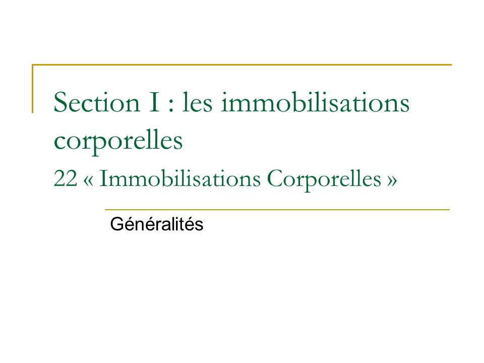 Section I : les immobilisations corporelles 22 « Immobilisations Corporelles »