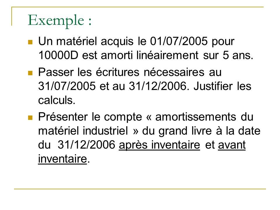 Exemple : Un matériel acquis le 01/07/2005 pour 10000D est amorti linéairement sur 5 ans.