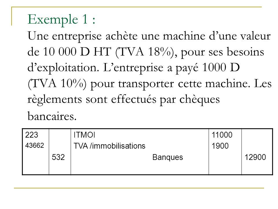 Exemple 1 : Une entreprise achète une machine d'une valeur de 10 000 D HT (TVA 18%), pour ses besoins d'exploitation. L'entreprise a payé 1000 D (TVA 10%) pour transporter cette machine. Les règlements sont effectués par chèques bancaires.