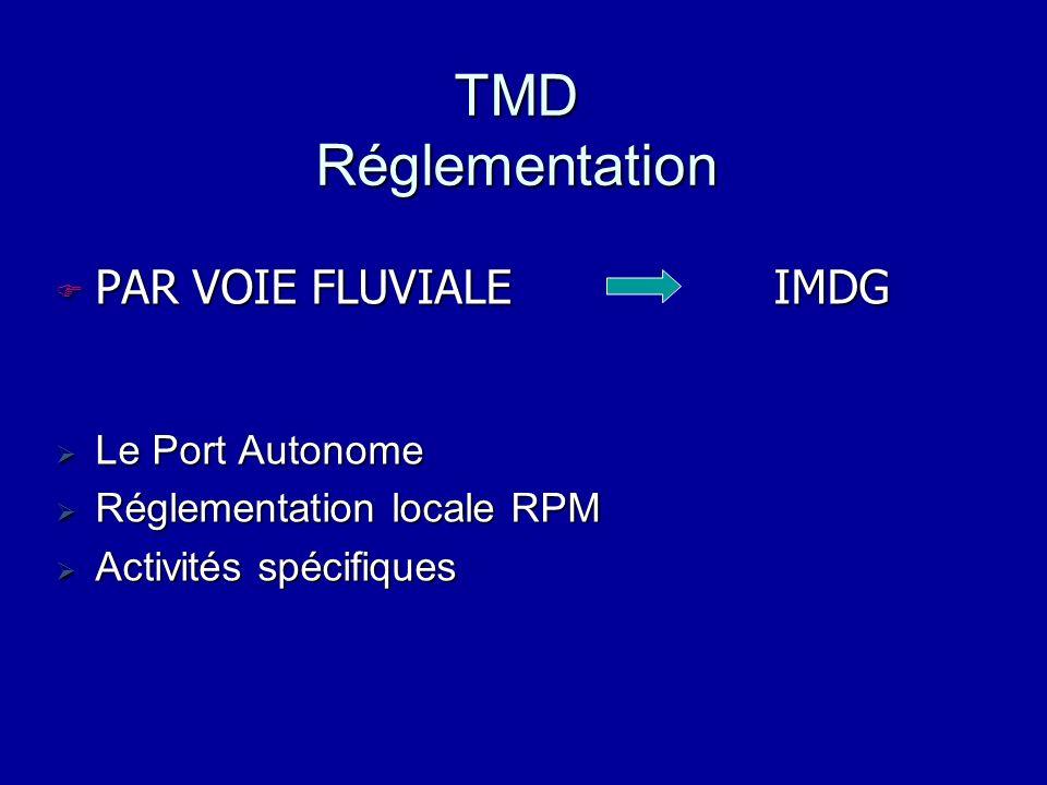 TMD Réglementation PAR VOIE FLUVIALE IMDG Le Port Autonome