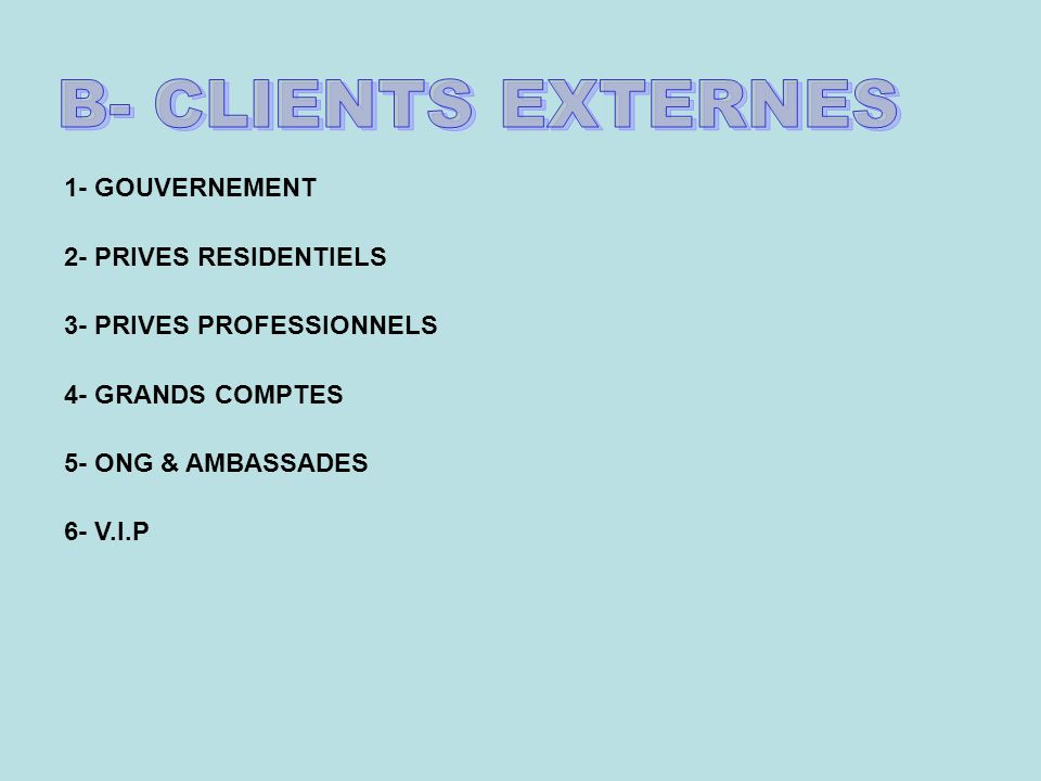 B- CLIENTS EXTERNES 1- GOUVERNEMENT 2- PRIVES RESIDENTIELS