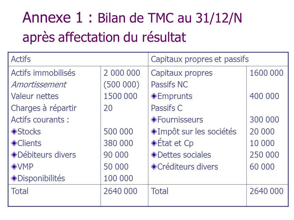 Annexe 1 : Bilan de TMC au 31/12/N après affectation du résultat