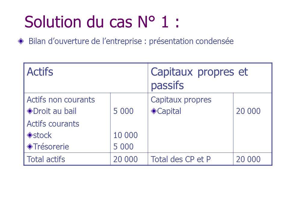 Solution du cas N° 1 : Actifs Capitaux propres et passifs