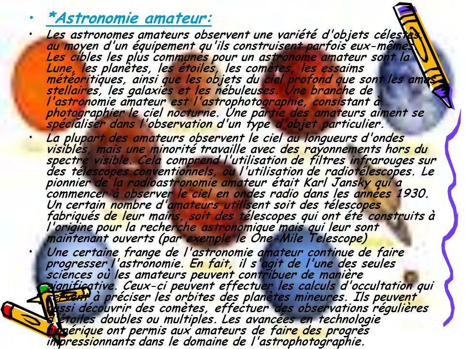 *Astronomie amateur: