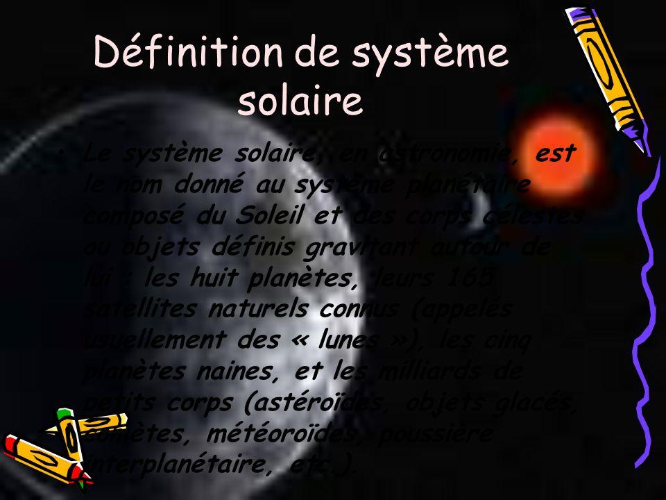 Définition de système solaire