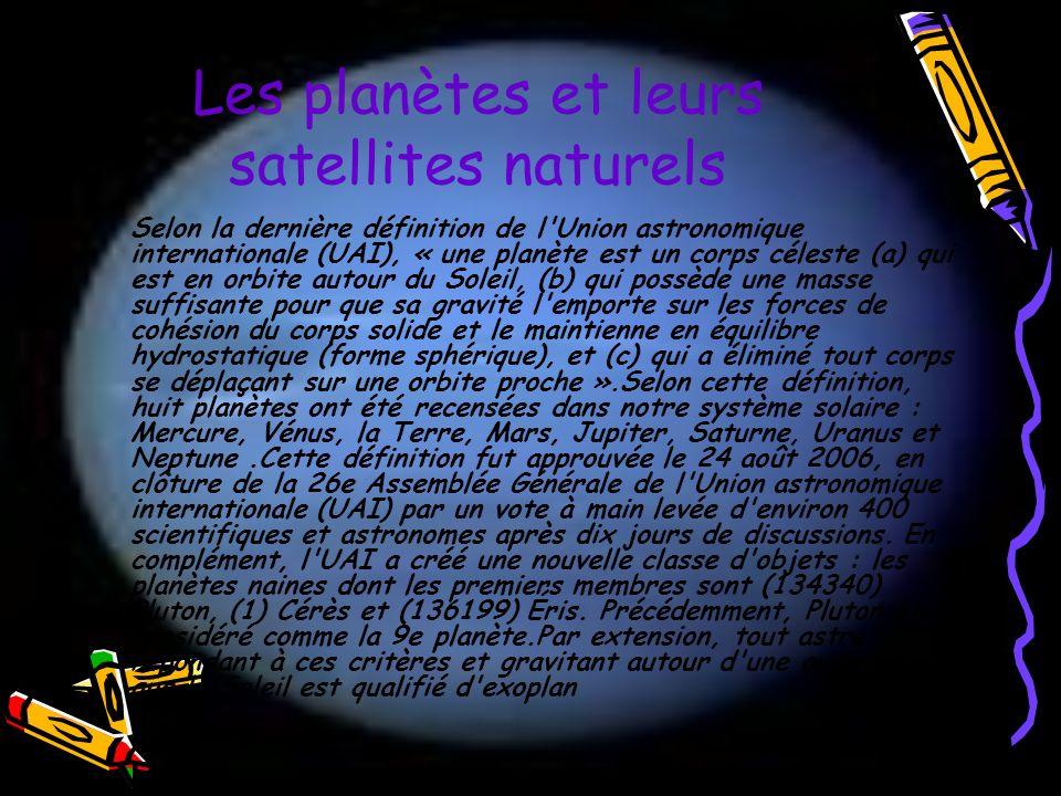 Les planètes et leurs satellites naturels