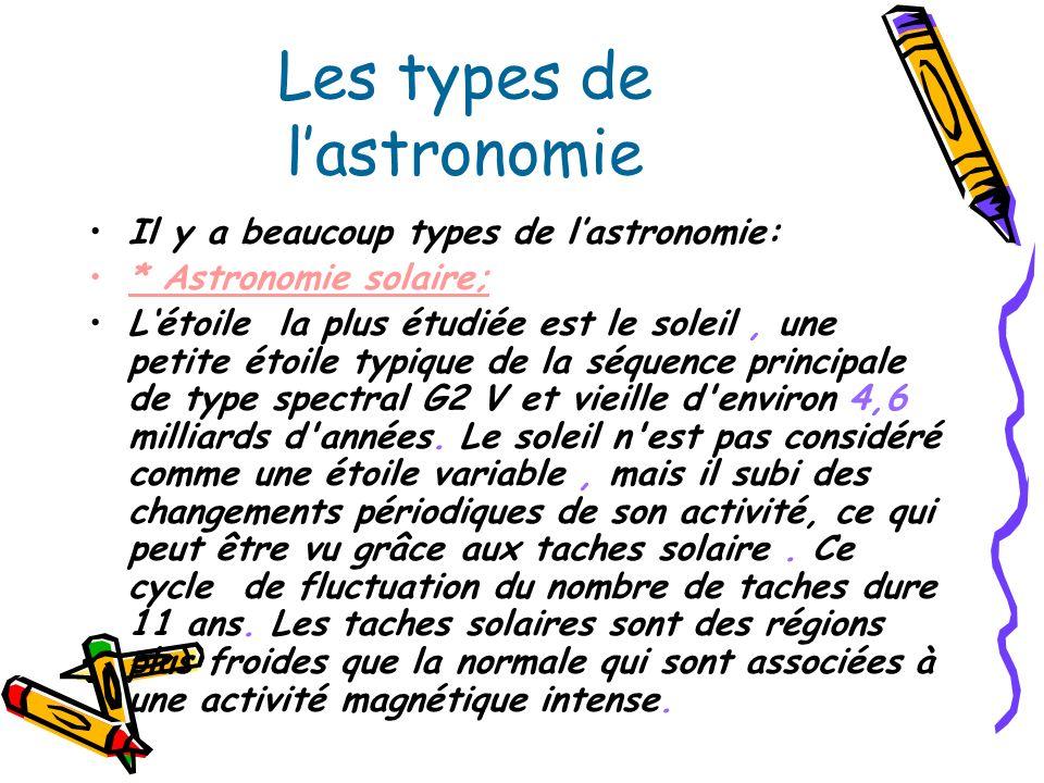 Les types de l'astronomie