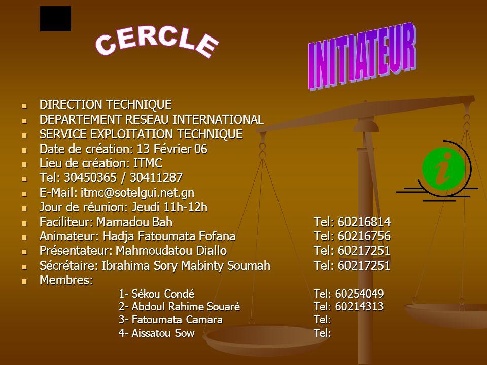 INITIATEUR CERCLE DIRECTION TECHNIQUE DEPARTEMENT RESEAU INTERNATIONAL