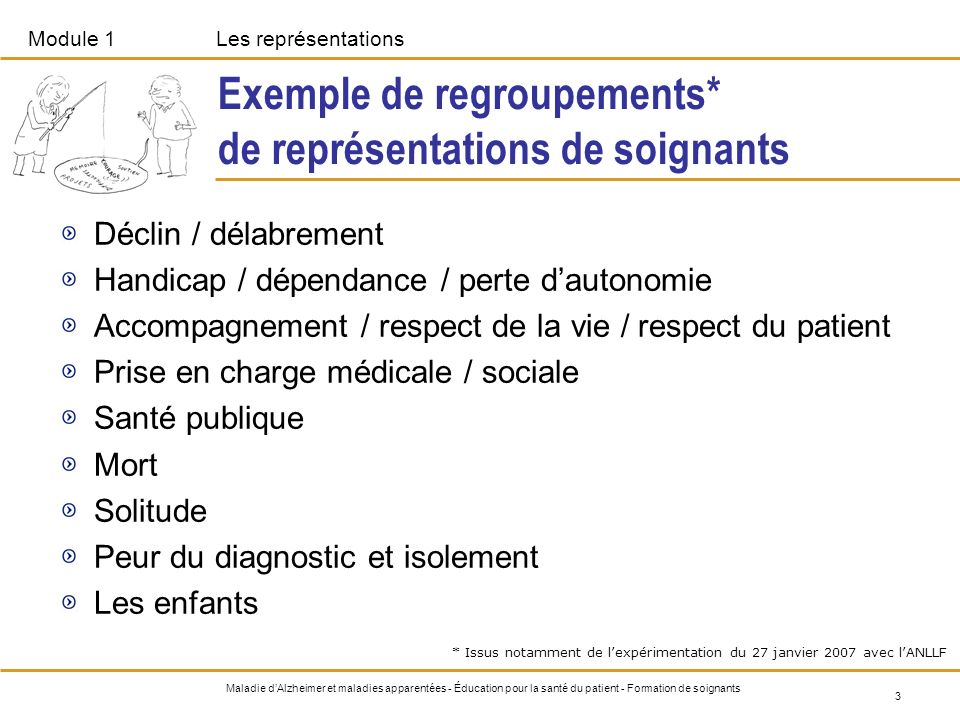 Exemple de regroupements* de représentations de soignants