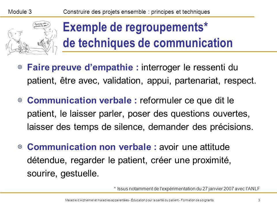 Exemple de regroupements* de techniques de communication