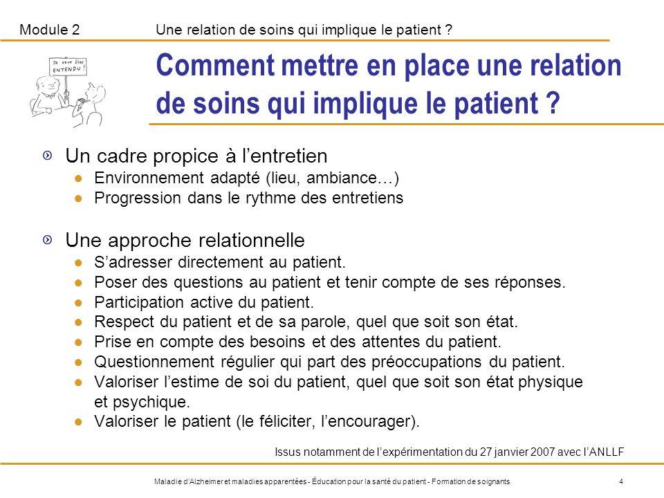 Comment mettre en place une relation de soins qui implique le patient