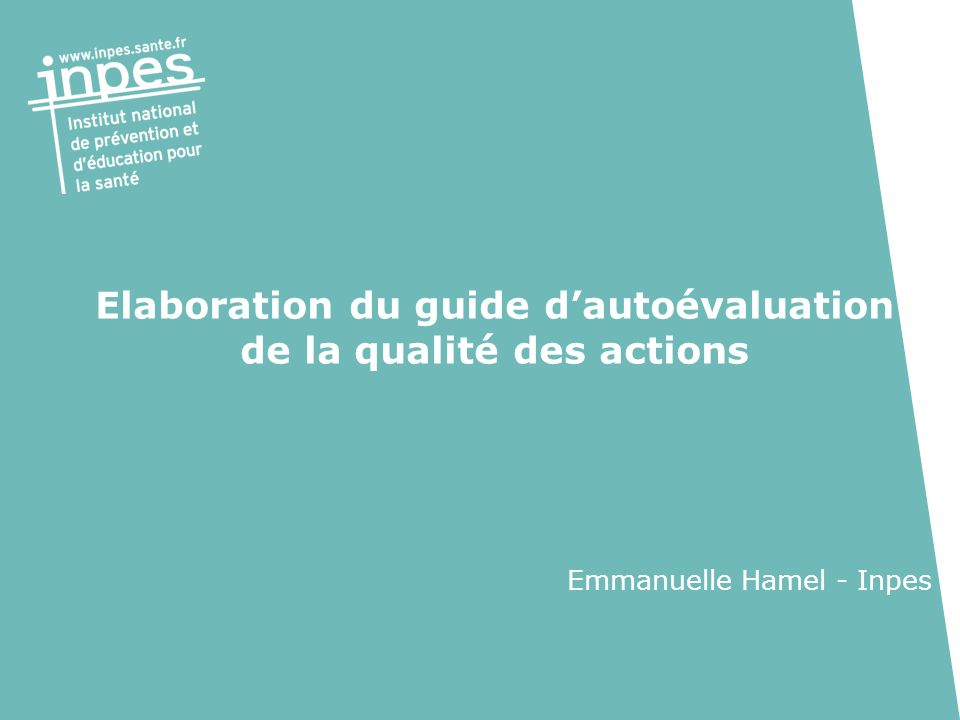 Elaboration du guide d'autoévaluation de la qualité des actions