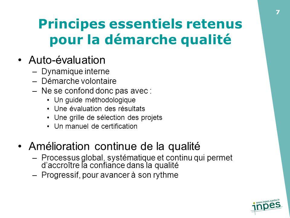 Principes essentiels retenus pour la démarche qualité
